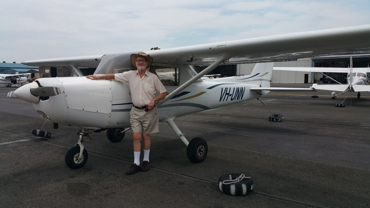 Air Gold Coast Cessna 152 with gentleman taking trial introductory flight