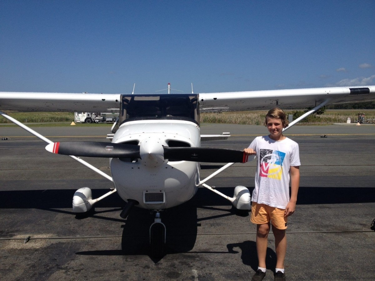 Youth Taking Trial Flight in Cessna 152 at Air Gold Coast